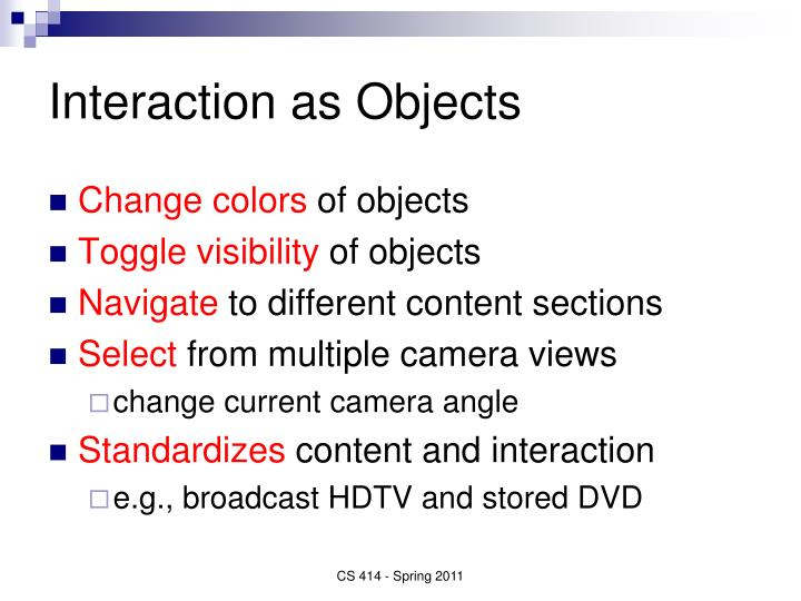 Interaction as Objects