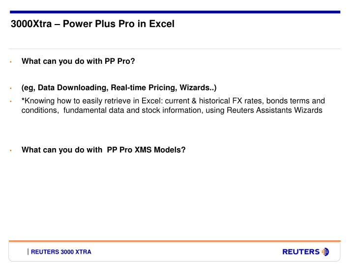 3000Xtra – Power Plus Pro in Excel