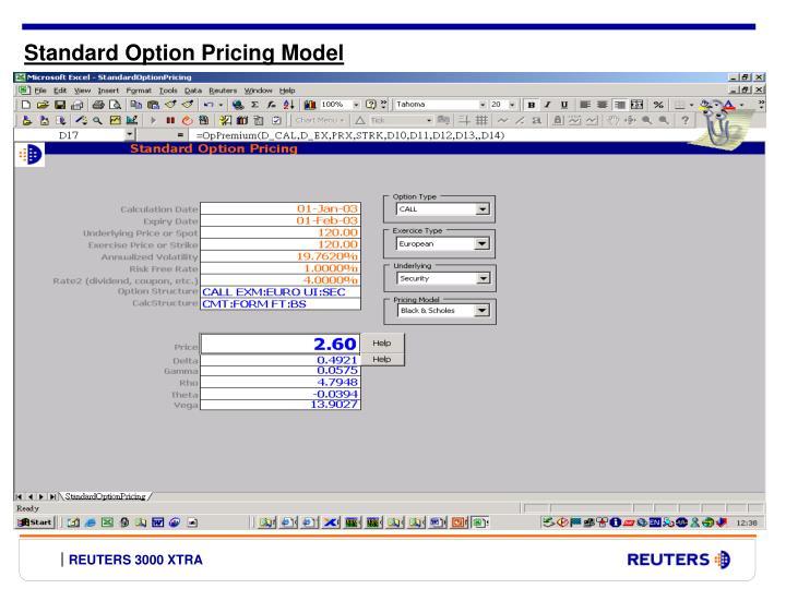 Standard Option Pricing Model