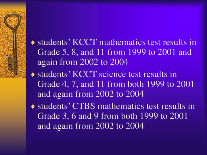 students' KCCT mathematics test results in Grade 5, 8, and 11 from 1999 to 2001 and again from 2002 to 2004