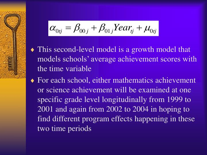 This second-level model is a growth model that models schools' average achievement scores with the time variable