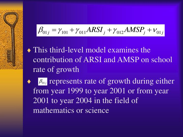 This third-level model examines the contribution of ARSI and AMSP on school rate of growth