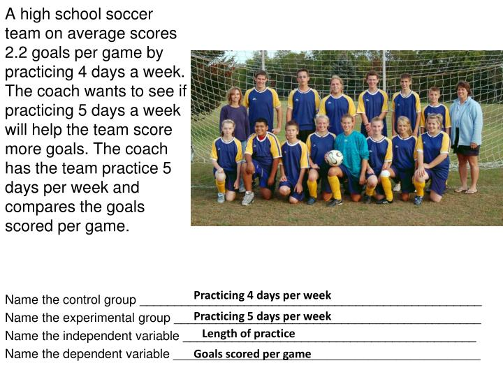 A high school soccer team on average scores 2.2 goals per game by practicing 4 days a week. The coach wants to see if practicing 5 days a week will help the team score more goals. The coach has the team practice 5 days per week and compares the goals scored per game.
