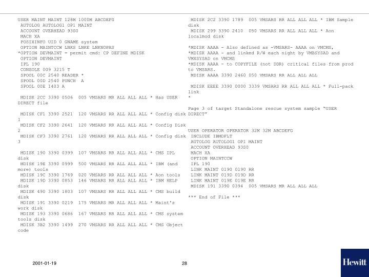 USER MAINT MAINT 128M 1000M ABCDEFG
