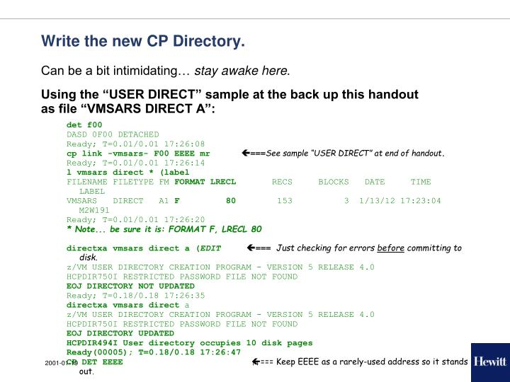 Write the new CP Directory.