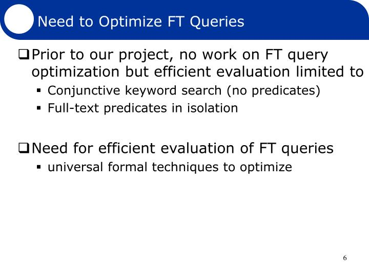 Need to Optimize FT Queries