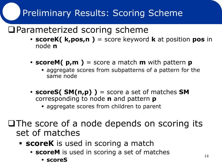 Preliminary Results: Scoring Scheme