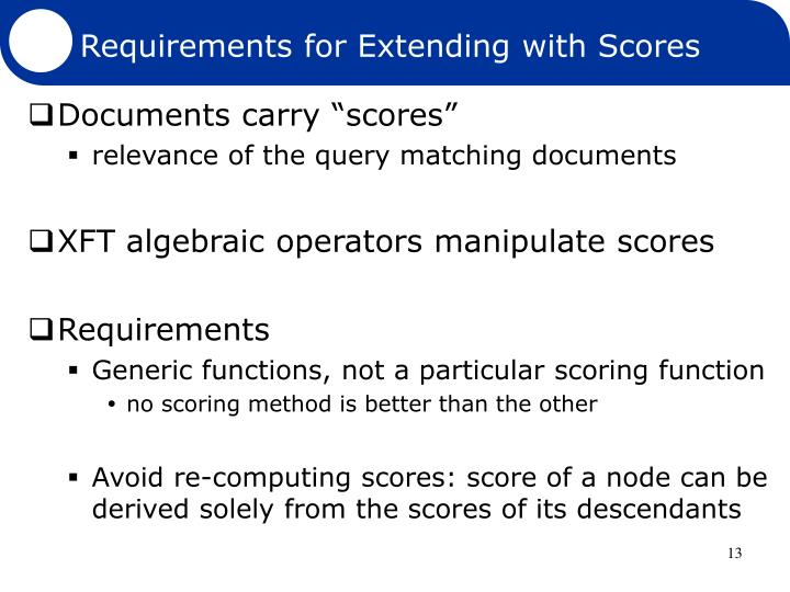 Requirements for Extending with Scores