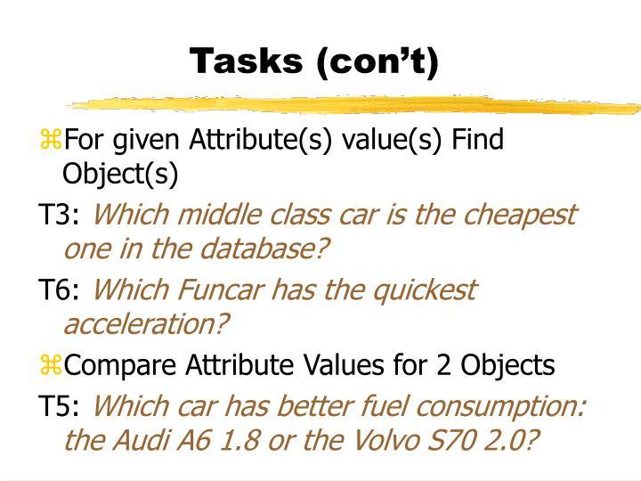 Tasks (con't)