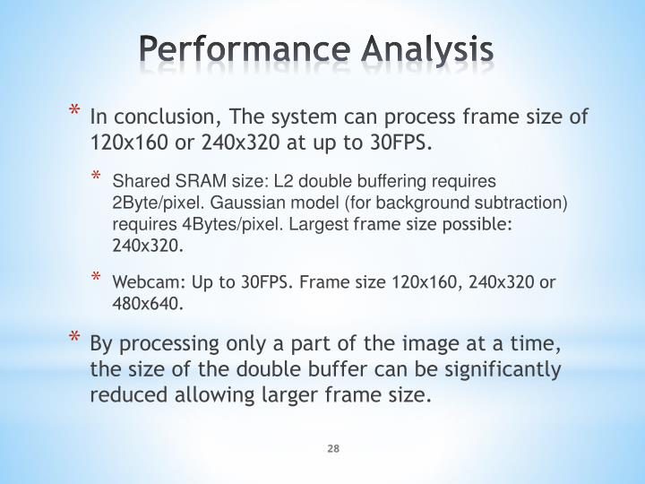 In conclusion, The system can process frame size of 120x160 or 240x320 at up to 30FPS.