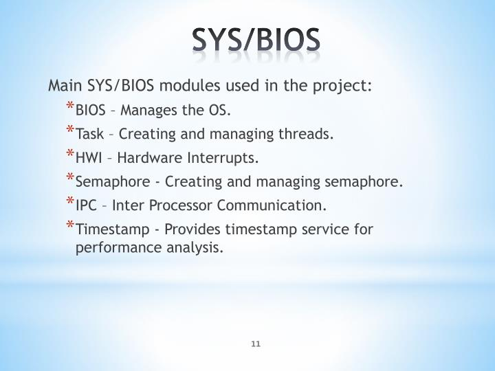 Main SYS/BIOS modules used in the project: