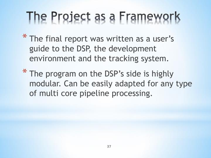 The final report was written as a user's guide to the DSP, the development environment and the tracking system.