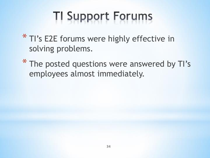 TI's E2E forums were highly effective in solving problems.