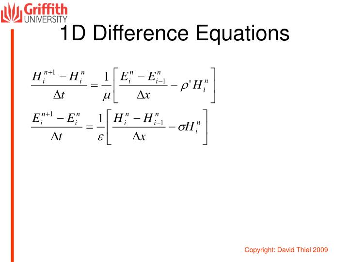 1D Difference Equations