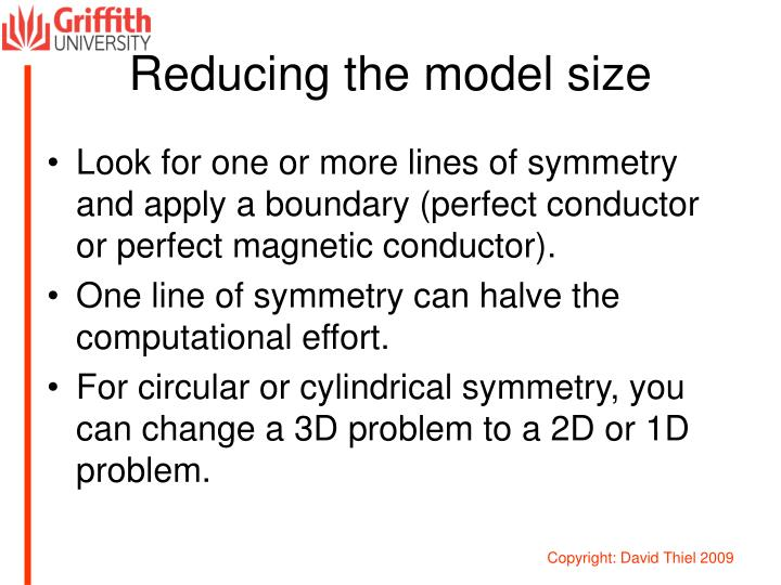 Reducing the model size