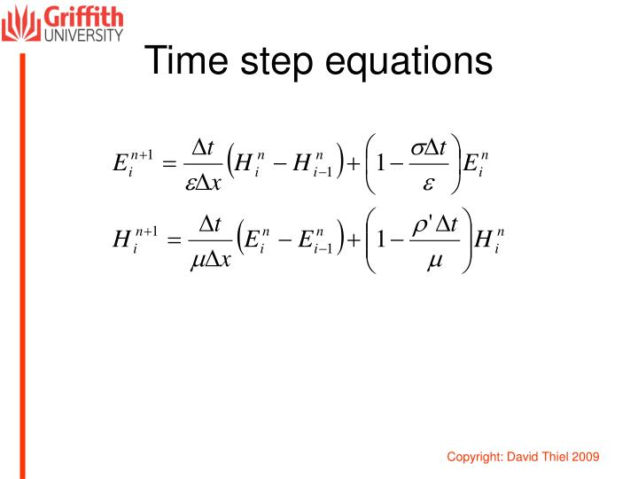 Time step equations