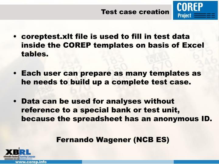 Test case creation