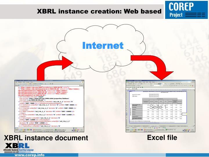 XBRL instance creation: Web based