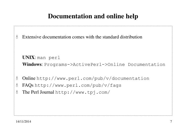Documentation and online help