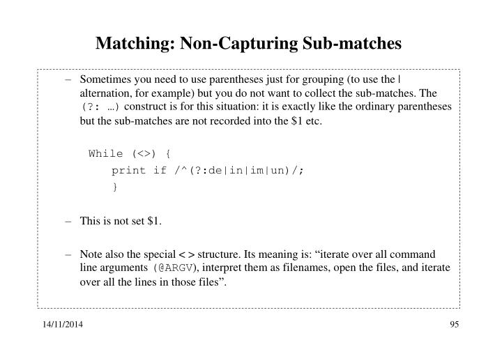 Matching: Non-Capturing Sub-matches