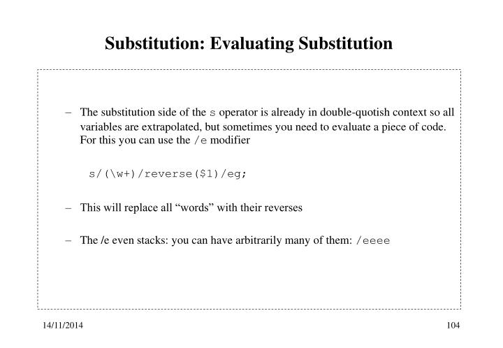 Substitution: Evaluating Substitution