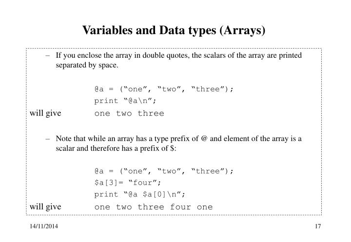 Variables and Data types (Arrays)