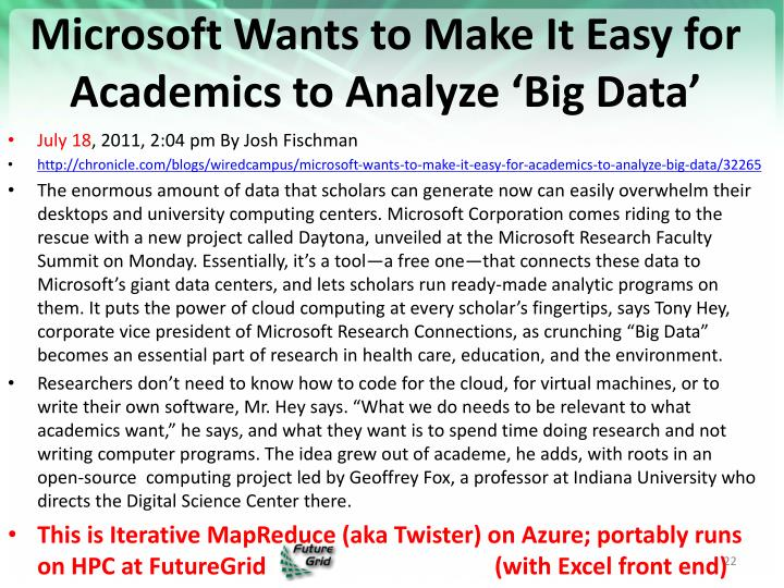 Microsoft Wants to Make It Easy for Academics to Analyze 'Big