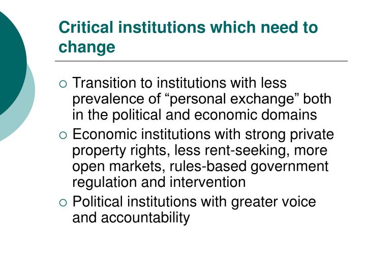 Critical institutions which need to change