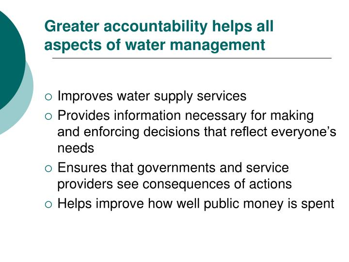 Improves water supply services