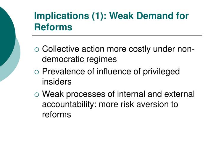 Implications (1): Weak Demand for Reforms