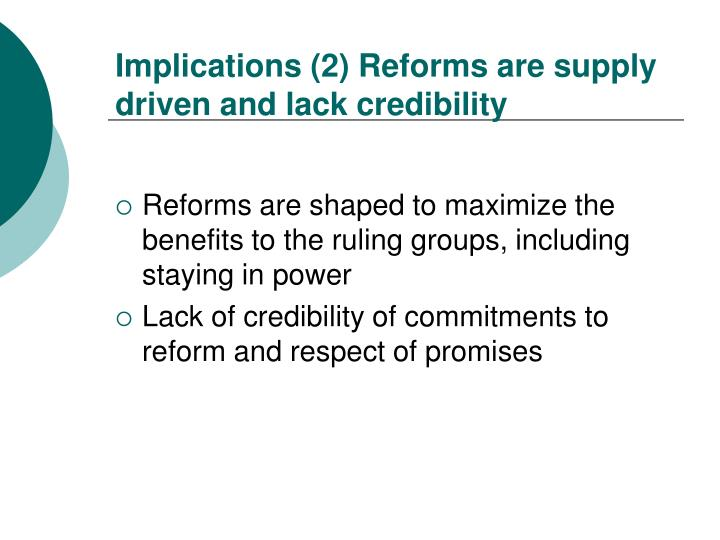 Implications (2) Reforms are supply driven and lack credibility