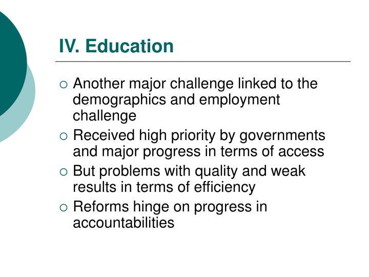 IV. Education