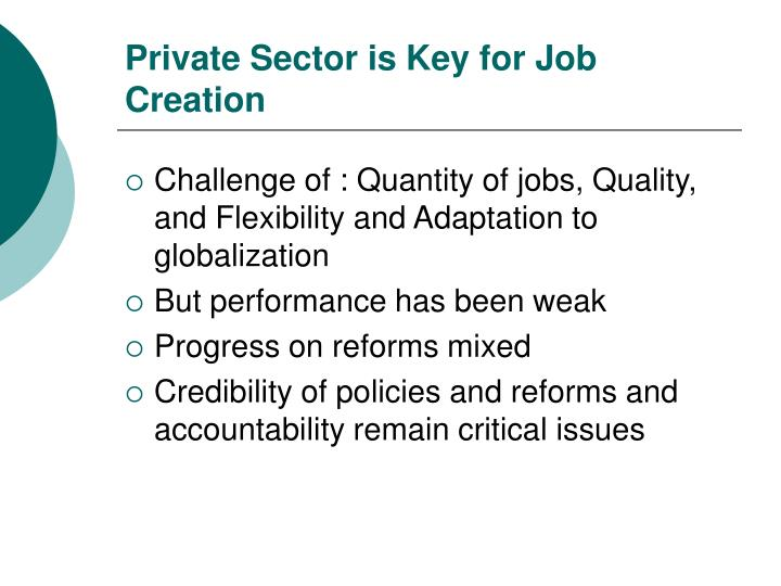 Private Sector is Key for Job Creation