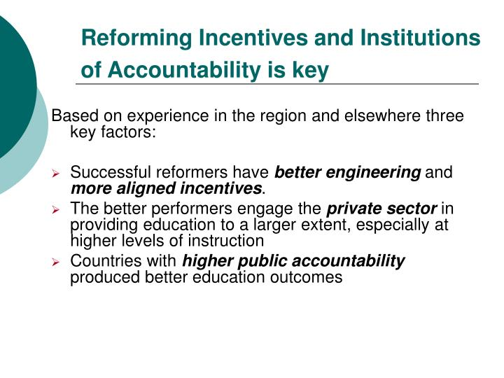 Reforming Incentives and Institutions