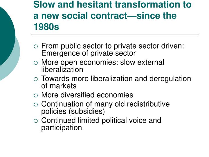 Slow and hesitant transformation to a new social contract—since the 1980s