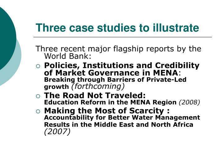 Three case studies to illustrate