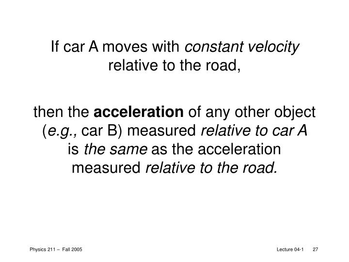 If car A moves with