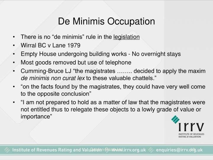De Minimis Occupation