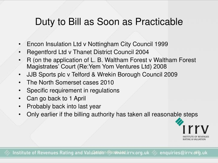 Duty to Bill as Soon as Practicable