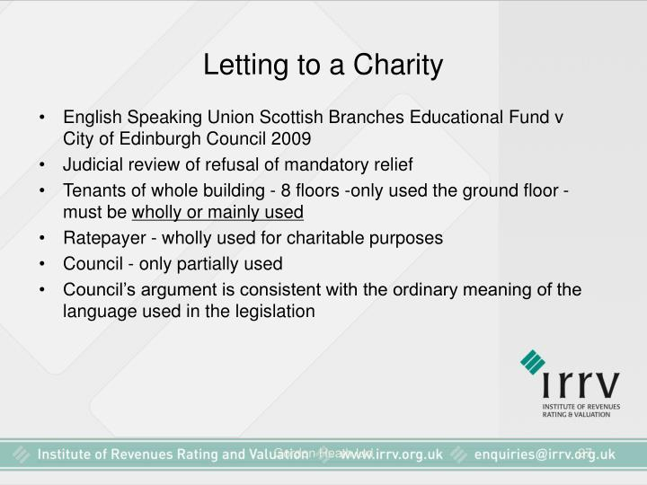 Letting to a Charity