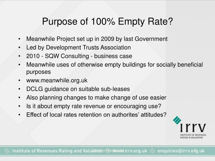 Purpose of 100% Empty Rate?