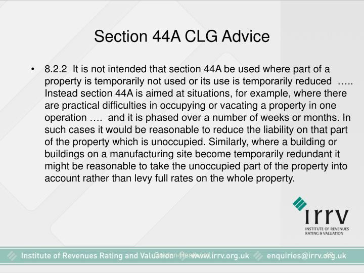 Section 44A CLG Advice