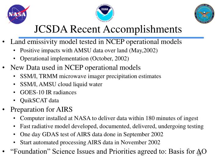 JCSDA Recent Accomplishments