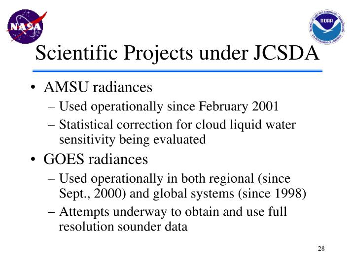 Scientific Projects under JCSDA