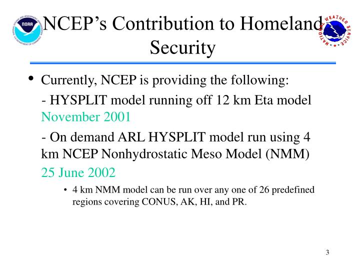 NCEP's Contribution to Homeland Security