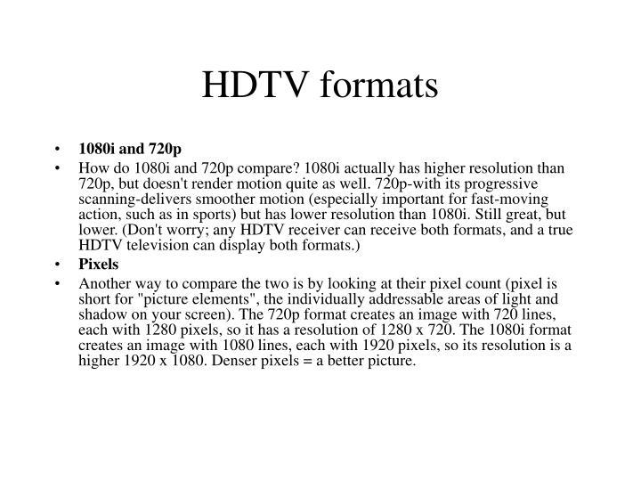 HDTV formats