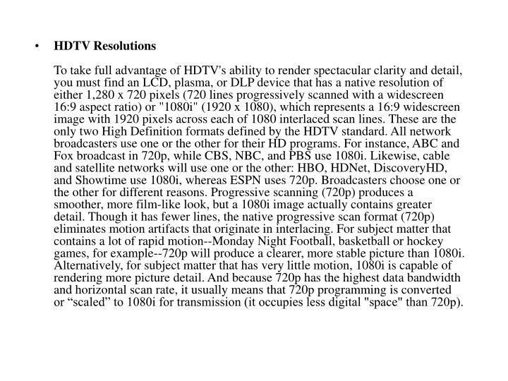 HDTV Resolutions