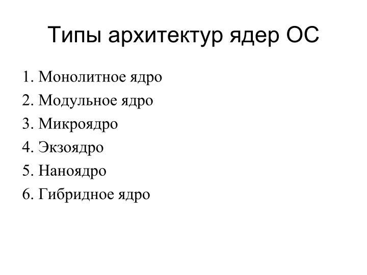 Типы архитектур ядер ОС