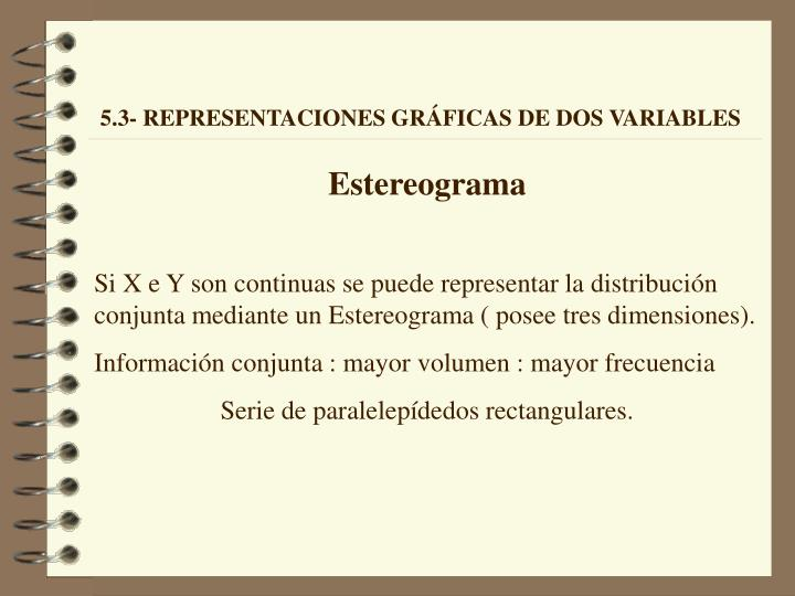 5.3- REPRESENTACIONES GRÁFICAS DE DOS VARIABLES
