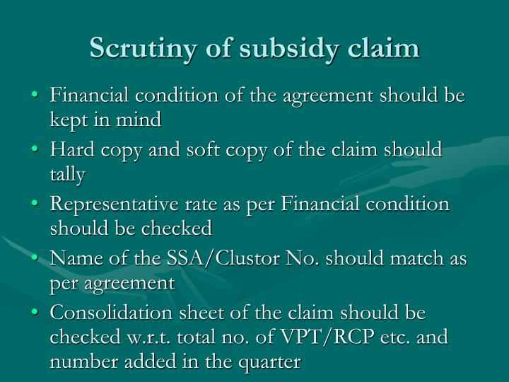 Scrutiny of subsidy claim